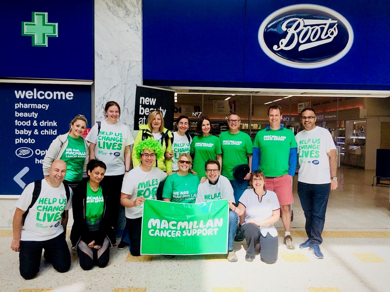 Head of Stores Mo Hassam with Macmillan Cancer fundraiser